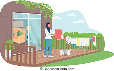 Muslim woman drying laundry outside 2D vector web banner, poster