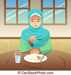 Muslim Woman Eating Breakfast at Home Illustration