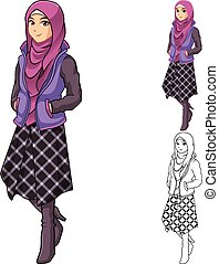 Muslim Woman Fashion Wearing Purple Veil or Scarf with Jacket and Line Skirt Outfit Include Flat Design and Outlined Version Cartoon Character Vector Illustration