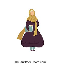 Muslim Woman Holding Folder with Papers, Modern Arab Girl in Traditional Clothing Vector Illustration