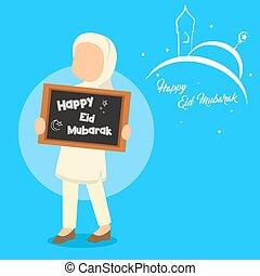 muslim woman holding happy eid mubarok sign