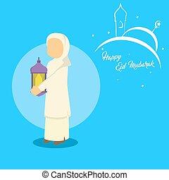 muslim woman holding lantern
