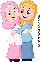 Muslim woman hugging