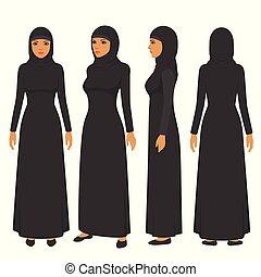 muslim woman illustration, vector arab girl character, saudi...