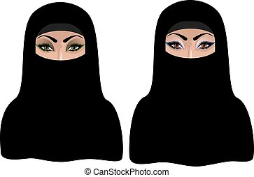 Muslim Woman in Black Hijab - Cartoon muslim woman portrait...