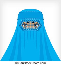 Muslim woman in blue burqa