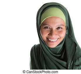 Muslim Woman In Green Hijab