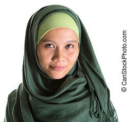Muslim Woman In Green Hijab