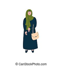 Muslim Woman in Hijab Standing with Bag, Modern Arab Girl Character in Traditional Clothing Vector Illustration