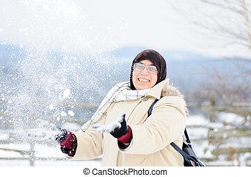 Muslim woman in snow