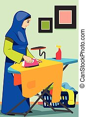 Muslim Woman Ironing Clothes at Home