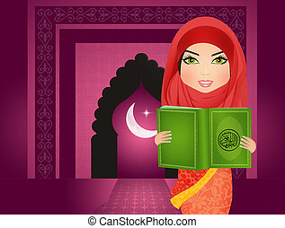 Muslim woman reading holy islamic book Coran - illustration...