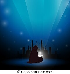 Muslim woman reading Quran abstract blue background.