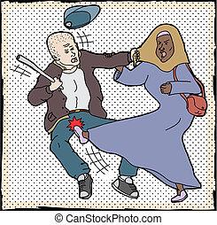 Muslim Woman Self-Defense - Muslim woman kicking man pulling...