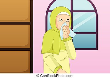 Muslim Woman Sneezing Into a Tissue Illustration - A vector...