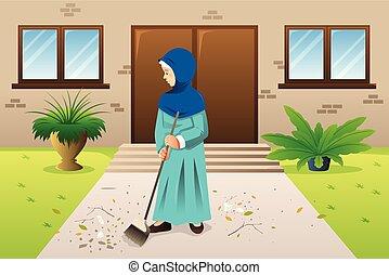 Muslim Woman Sweeping the Trash Illustration
