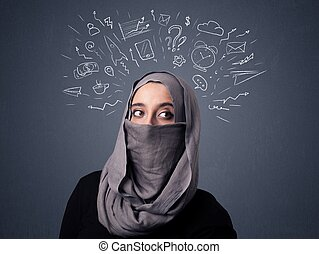 Muslim woman wearing niqab - Young muslim woman wearing...