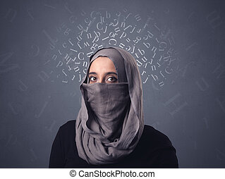 Muslim woman wearing niqab - Young muslim woman wearing...