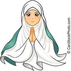 Muslim Woman Wearing White Veil Vector Illustration