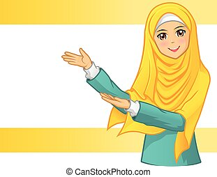 Muslim Woman Wearing Yellow Veil Vector Illustration