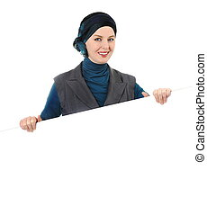 Muslim woman with copy space