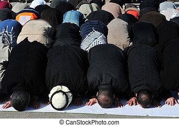 A mass muslim prayer session