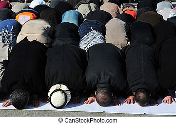 Muslims Pray - A mass muslim prayer session