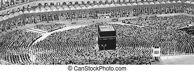 Muslims Prayer Around AlKaaba in Mecca, Aerial View