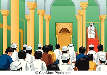 Muslims Praying in a Mosque Illustration