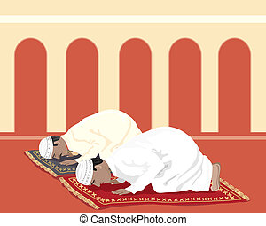 muslims praying - an illustration of two muslims praying on...