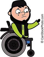 muslimsk, stol, hjul, tecknad film, man