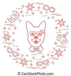 muso, tie., carnevale, baffi, fiocchi neve, maschere, occhiali, cane, arco, costume, concept., festivo