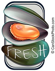 Mussel - Fresh mussels in shell with text