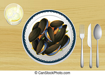 Mussel on a plate