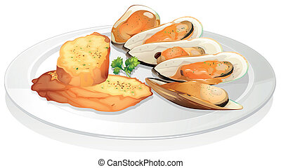 Mussels and garlic bread - illustration of mussels and...