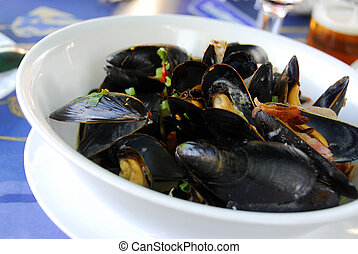 Mussels at the restaurant