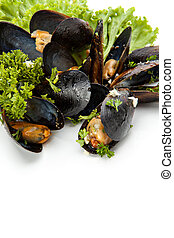 Mussels - Fresh mussels with herbs and garlic on a white ...