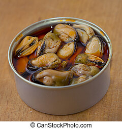 Mussels in a tin