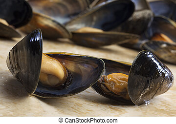 Mussels - Moules Marinieres is probably the most common and internationally recognisable recipe, Moules marinieres includes white wine, shallots, parsley and butter to cook the mussels.