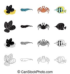 Mussels, sea whale, crab, fish clown.Sea animal set collection icons in cartoon black monochrome outline style vector symbol stock illustration web.