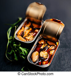 Mussels tin appetizer close up
