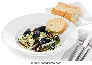 Mussels with Blue Cheese - Plate of mussels with blue cheese...