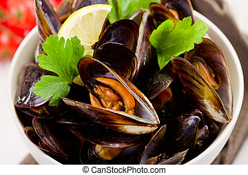 Mussels with white wine - delicious italian fish dish made...