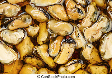 mussels without shell close-up