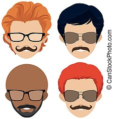 Mustach styles and glasses for men illustration