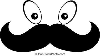 Mustach with eye - a cartoon face mustach