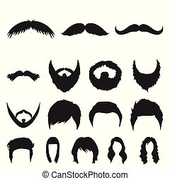 Mustache and beard, hairstyles black icons in set collection for design. Stylish haircut vector symbol stock web illustration.
