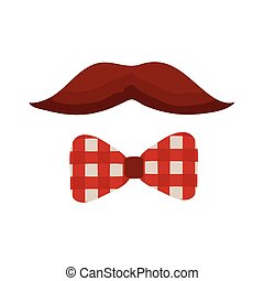 mustache and bowtie flat style icon