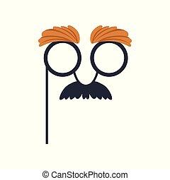 Mustache and glasses humor mask, masquerade decorative...