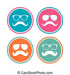 Mustache and Glasses icons. Hipster symbols.